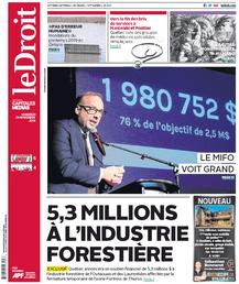Première page du quotidien Le Droit