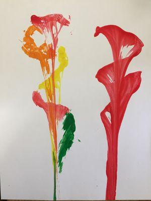 Oeuvre de peinture avec ficelle