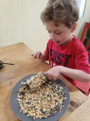 Garçon qui construit une mangeoire pour les oiseaux