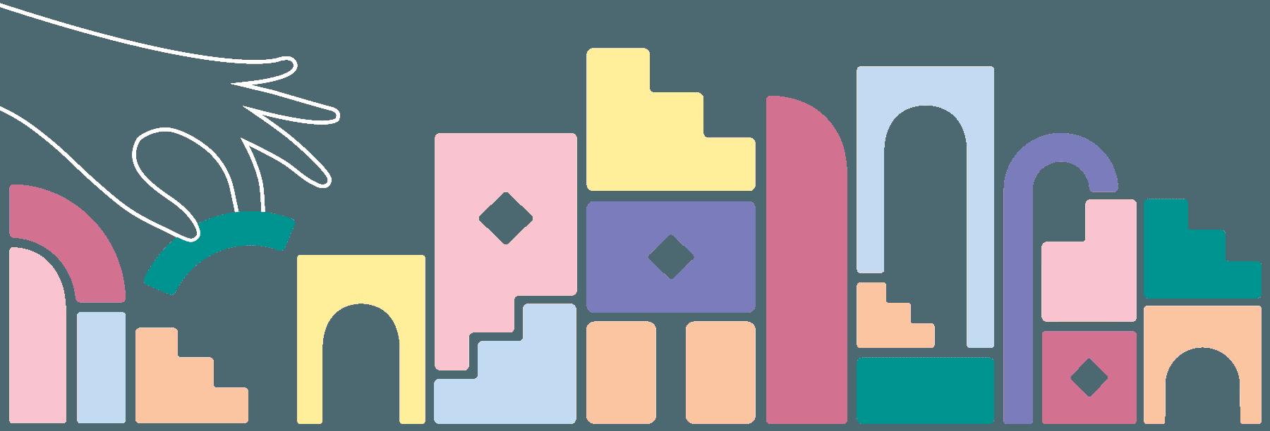 Main mauve et blocs de construction colorés